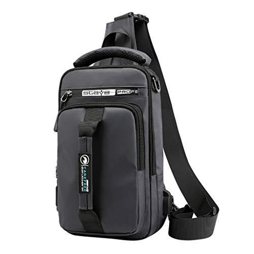 - DDKK backpacks Men Fashion Outdoor Messenger Bag-Shoulder Sling Chest Bags Black for Hiking Cycling and Travel-Oxford USB Versatile