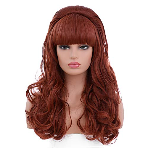 BESTUNG Copper Red Long Curly Wavy Women's Big Red Costume Wig 80's Classical Hair Wigs for ()