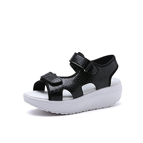 Xing Lin Ladies Sandals Summer New Casual Slope With Thick Bottom Comfortable Students Fan Female Sandals Soft Bottom Shakes Shoes 1704-3 black pJR8o2o