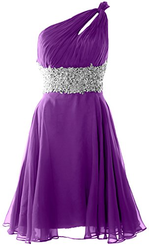 MACloth Women One Shoulder Chiffon Lace Cocktail Dress Short Prom Formal Gown Morado