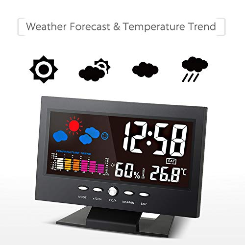 (Guoainn Practical Lovely Exquisite LCD Digital Voice Activated Backlight Weather Station Temperature Humidity Clock)