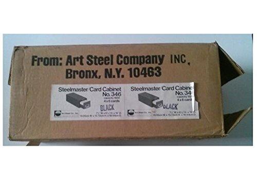 Steelmaster 346 Card Cabinet 4'' x 6'' Cards 1500 Card Capacity 7 1/2'' (W) x 6 3/16'' (H) x 16'' (D) Black by STEEL ART