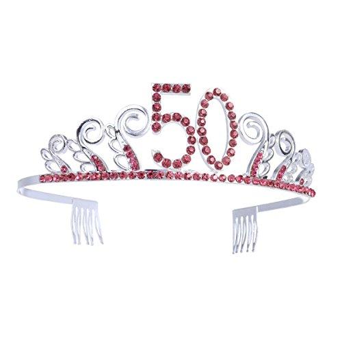Frcolor Birthday Crowns Rhinestone Birthday Tiara Happy 50th Birthday Birthday Party Tiara (Red)]()