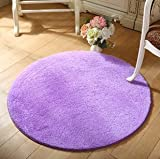 SVI Top Finel Hot High Quality Floor Mats Modern Shaggy Round Rugs and Carpets for Living Room Bedroom Carpet Rug for Home Yoga Mat plum 80cmx80cm