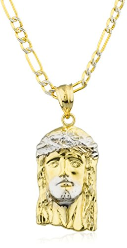 10k Yellow Gold Jesus Head Pendant with a 10k 24 Inch Pave Figaro Chain (Medium, GO-1458) (Yellow Gold Jesus Pendant)