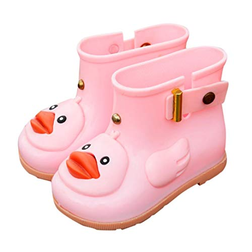 - Clearance Toddler Kids Baby Anti-Slip Rain Shoes Durable Rubber Waterproof Boots Cartoon Duck Water Shoes (Pink, US:6.5(Age:2-3T))