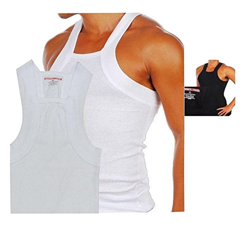 1b105735aaf92 Men s G-unit Style Tank Tops Square Cut Muscle Ribbed Wife Beater Underwear  Shirts (M