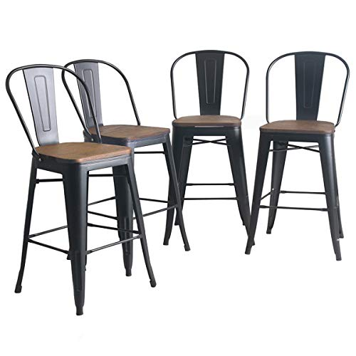 YongQiang Set of 4 Metal Barstools 24 inch High Back Bar Stools Dining Chair Counter High Bar Chairs with Wooden Seat Matte Black