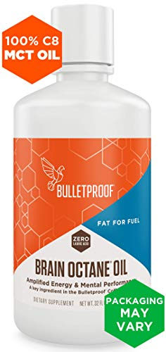 Bulletproof Brain Octane MCT Oil, Perfect for Keto and Paleo Diet, 100% Non-GMO Premium C8 Oil, Ketogenic Friendly, Responsibly Sourced from Coconuts Only, Made in The USA (32 oz) ()