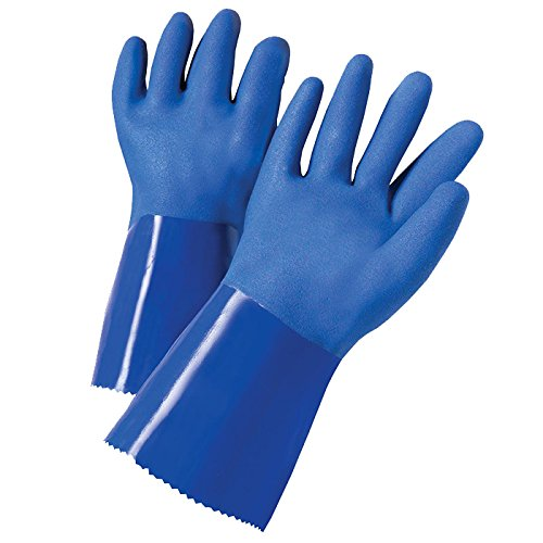 West Chester J1327 XL Triple Dip Rough PVC-Coated Interlock, Blue, XL (Pack of 12)
