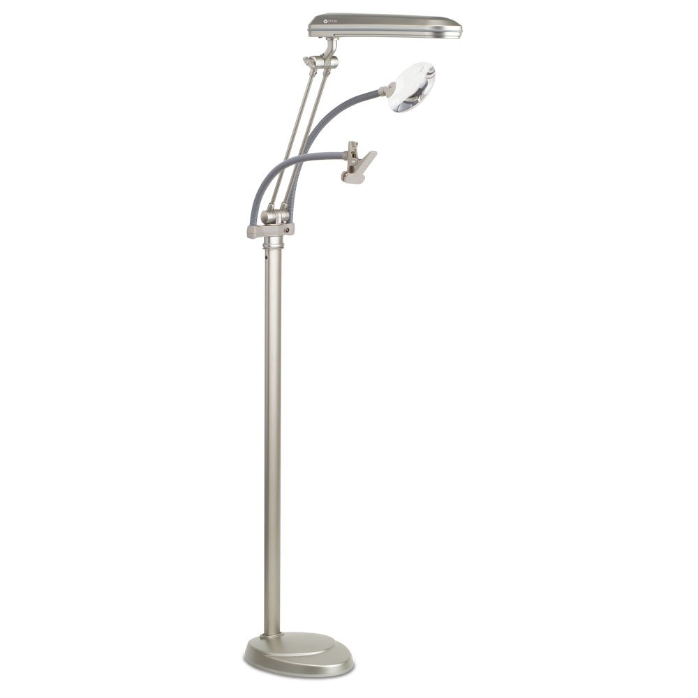 OttLite K94CP3 3-in-1 Adjustable-Height Craft Floor Lamp with Magnifier and Clip, Champagne by OttLite