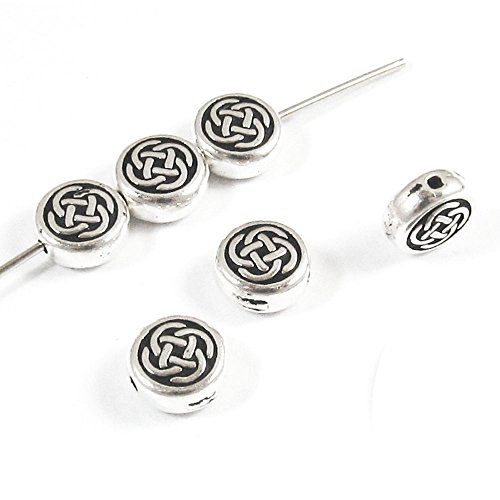 Tierracast Celtic Knot - Silver Small Celtic Circle Knot Coin Beads TierraCast Pewter (6 Pieces)