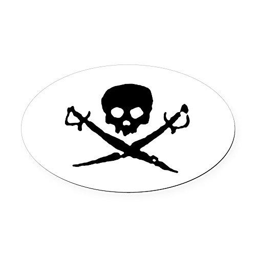 CafePress - Skull2-W.Png - Oval Car Magnet, Euro Oval Magnetic Bumper Sticker