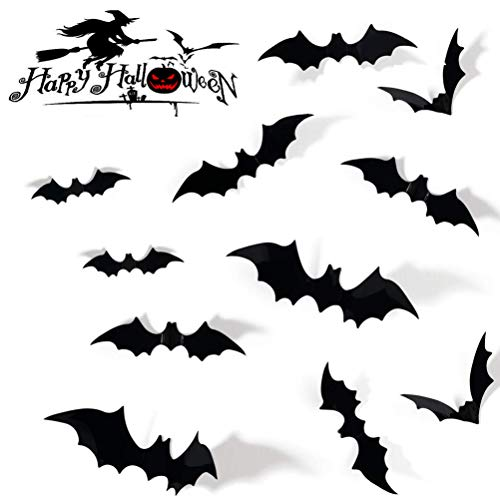 Halloween Bat Decoration (SUNEKING Halloween Party Supplies PVC 3D Decorative Scary Bats Wall Decal Wall Sticker, Halloween Eve Decor Home Window Decoration Set)