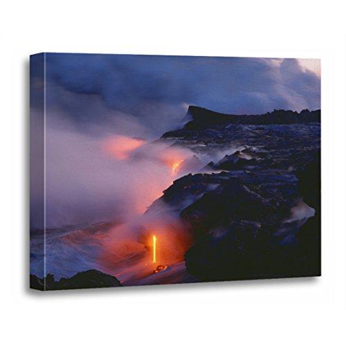 - TORASS Canvas Wall Art Print Lava Kilauea Volcano National Park Flow Artwork for Home Decor 12