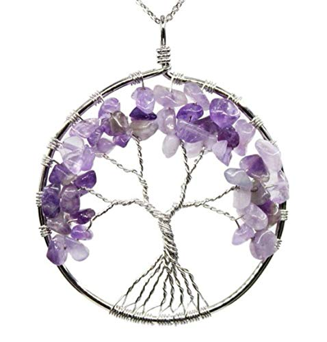 Tree of Life Natural Amethyst Gemstone Pendant Necklace Healing Crystals Chakra Gem Stone 26 inch Great Gift GGP9-7