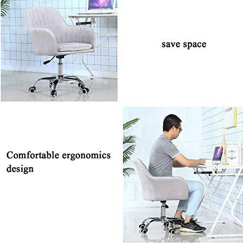 GAOPANG svängbar stol velvet-vadderad mitten av ryggen kontor dator skrivbordsstol, med armstöd fem stjärnor stål fotstativ och tyst caster – grå
