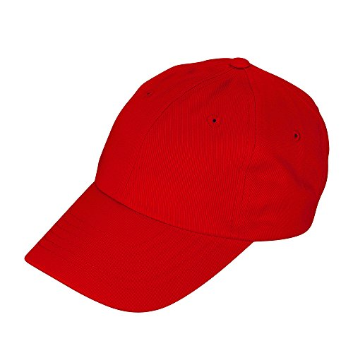 Kids Hats (DALIX Unisex Youth Childrens Cotton Cap Adjustable Plain Hat - Unstructured (Red))