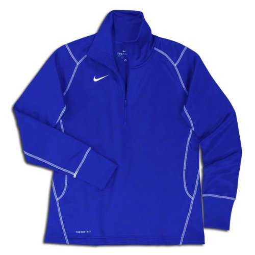 Nike Women's Quarter Zip Therma-FIT Performance Sweatshirt, Color Options (Large, Royal Blue) (Therma Training Fit Top Team)
