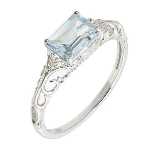 (Filigree Sterling Silver Emerald Cut Genuine Blue Aquamarine Statement Ring (4/5 C.T.T.W))