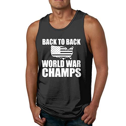 Back to Back World War Champs Black Tank Top for Men Sleeveless Tee Shirt Summer Workout Shirt
