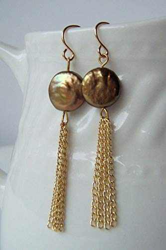 - Tassel Chain Cultured Freshwater Coin Pearl Earrings with Gold Plated Earwires