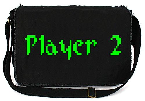Price comparison product image Dancing Participle Pixel Player 2 Black Raw Edge Canvas Messenger Bag