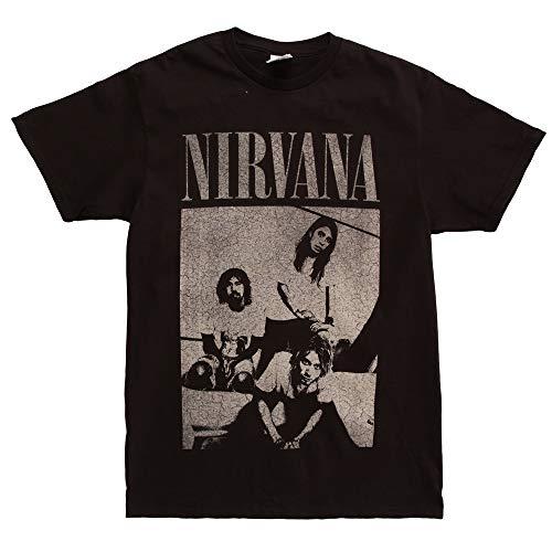 Nirvana B&W Blended Group Photo Adult T-shirt - Black (X-Large) ()
