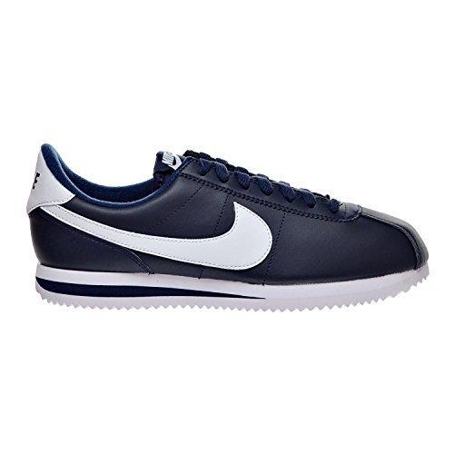Cortez Basic Leather - NIKE Cortez Basic Leather Men's Shoes Obsidian/White/Metallic Silver 819719-410 (8.5 D(M) US)