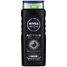 NIVEA Men Active Clean Body Wash , Natural Charcoal, 16.9 Fluid Ounce (Pack of 3)