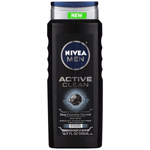 NIVEA Men Active Clean Body Wash, Natural Charcoal, 16.9 Fluid Ounce (Pack of 3) - Shower Wash Natural