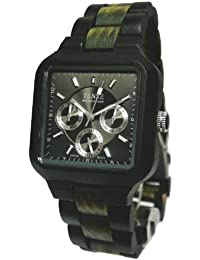 Tense Square Natural Sandal Wood/ Dark Green Wood Hypoallergentic Watch B7305DG