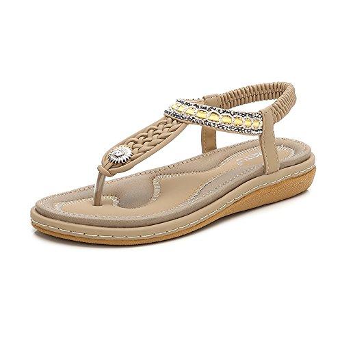 Meeshine Womens Summer Beach Flat Sandals Rhinestone Shiny Beads Slip On Flip Flops Thong Shoes(8 B(M) US,Beige 04)