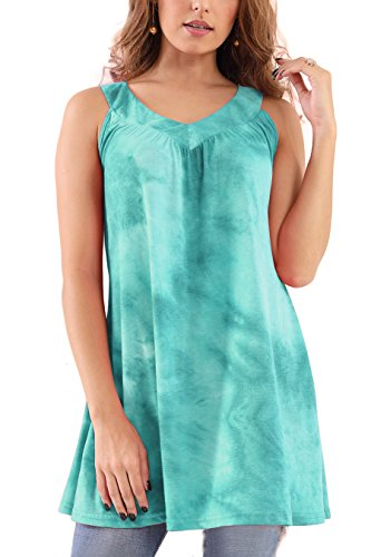 (Bzonly Womens Sleeveless Tie Dye Ombre Tunics Swing Cotton Tshirt Dress Summer Tank Top Green)