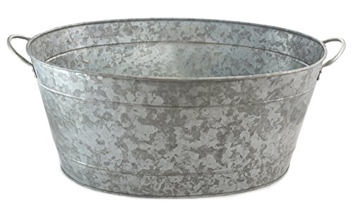 """Large Trough Planters - Galvanized Metal Beverage Tub Large Drink Ice Bucket Rustic Farmhouse 5.5 Gallon 22.75"""" x 14.5"""" x 9.5"""" Kitchen Picnic Parties Birthdays Picnics Outdoor Events by Well Pack Box"""