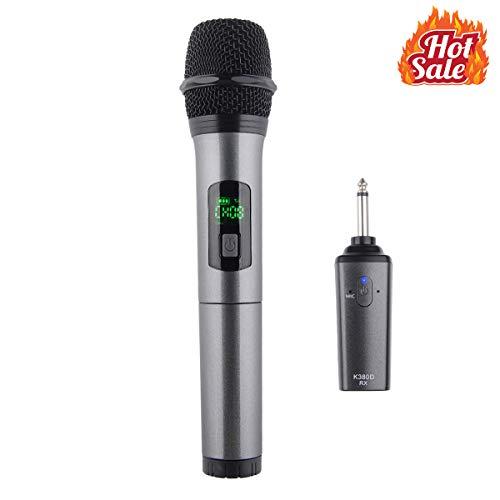 Kithouse K380D Wireless Microphone Karaoke Bluetooth Microphone Wireless Mic System With Rechargeable Receiver - Professional UHF Cordless Microphone For Karaoke Singing Church Speech(Elegant ()