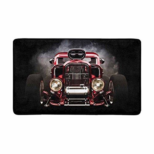 InterestPrint Cool Retro Red Hot Rod Roadster with Smoke Background Doormat Indoor Outdoor Entrance Rug Floor Mats Shoe Scraper Door Mat Non-Slip Home Decor, Rubber Backing Large 30