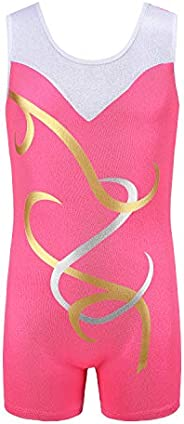 Holyangtech Gymnastic Leotard Girls One Piece Sparkle Leotard Ballet Gym Leotards for Girls