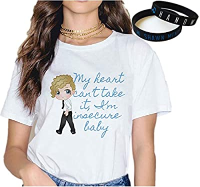 Shawn Mendes T-Shirt Bracelet Gift White Concert Tee Music Fashion Wristband Print Cartoon New Semester