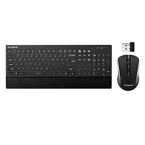 VicTsing Ultra-thin Wireless Keyboard and Mouse Combo with Palm Rest, 2.4GHz Connectivity, Long Battery Life - (Slim Gaming Keyboard)