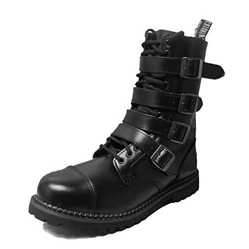 Grinders Mens Quad CS 14 Eyelet Buckle Derby Boot Black 10 US (Retro Mod Brogues)