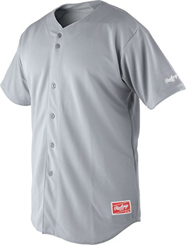 Rawlings Men's Premium Full Button RJ140 Jersey, Blue Grey, 40