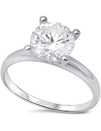 2ct Round Solitaire Engagement .925 Sterling Silver Ring sizes 4-10