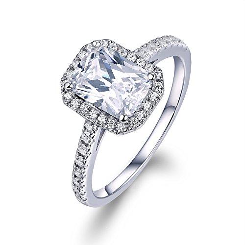 Engagement Rings Vs Wedding Bands: 2 Ct Emerald Cut Enhanced Diamond(VS) 14k White Gold