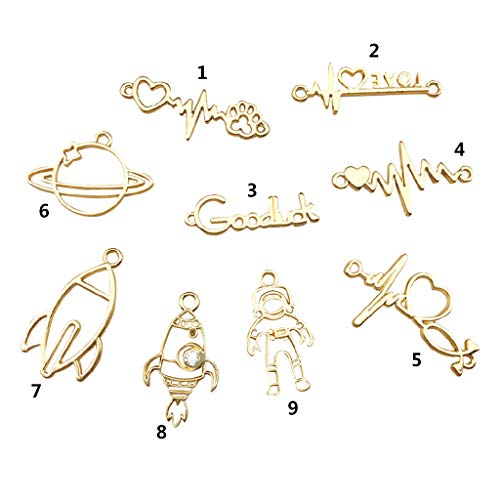 (Misright 9 Pcs/Set Epoxy Metal Frame Love Rocket Astronaut Satellite Shape Pendant Necklace Earrings Accessories Manual DIY Material)