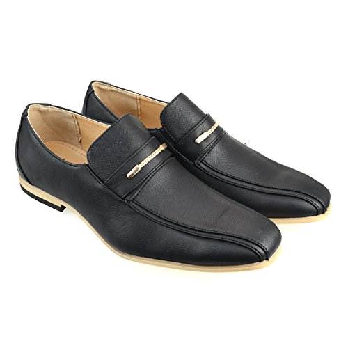 AN-Mens-Penny-Loafer-Dress-Shoes-Bicycle-Toe-Slip-On-Black-Navy-White