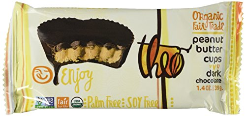 Theo Organic Dark Chocolate Peanut Butter Cups, 2 Cups, 1.4 Oz, (Pack of 12) Vegan, Kosher
