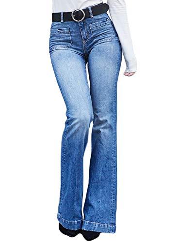 Sidefeel Women High Rise Flare Bottom Bell Denim Jeans Skinny Long Pants Large Sky Blue