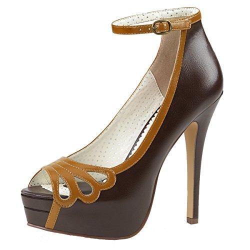 Heels-Perfect - Pantuflas de caña alta Mujer marrón (Braun)