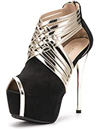 Women's Peep-Toe Platform Stiletto High Heels Dress Sandal Pumps Hollow Ankle Boots